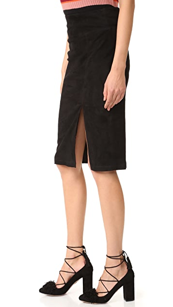 alice + olivia Tani Suede Skirt with Slit