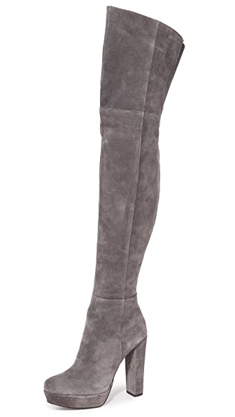 Alice + Olivia Halle Over The Knee Boots - Charcoal at Shopbop