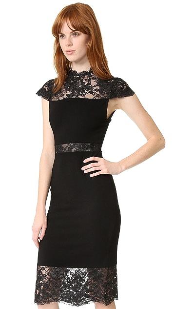 alice + olivia Kim Mock Neck Lace Dress