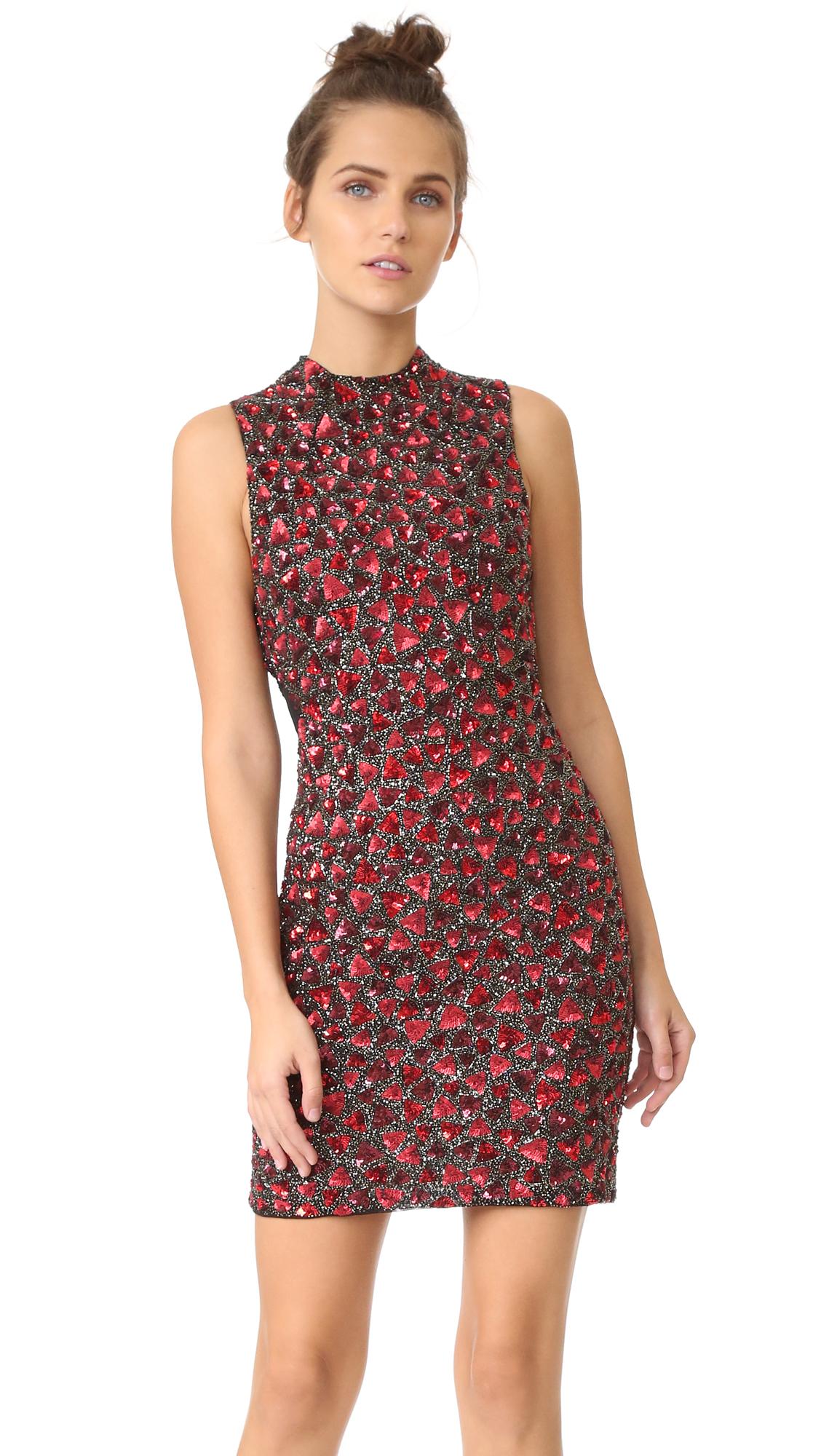 alice + olivia Rosalee Embroidered Mock Neck Dress   SHOPBOP