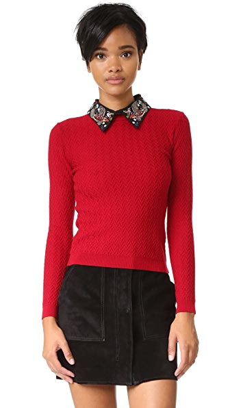 alice + olivia Brooke Embroidered Bird Collar Sweater
