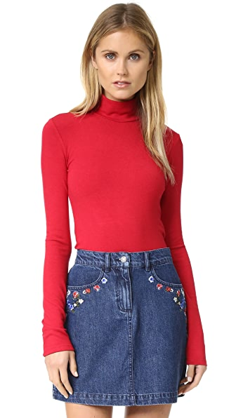 alice + olivia Garrison Slim Mock Neck Top - Ruby