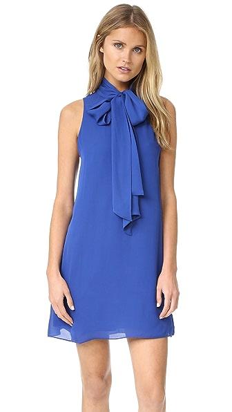 alice + olivia Cassidy Tie Neck Flare Dress - Cobalt