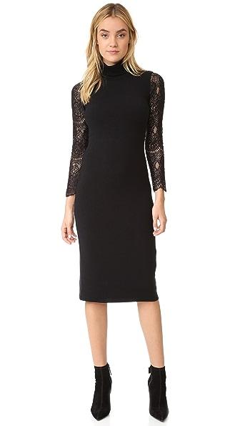 alice + olivia Kala Turtleneck Lace Sleeve Dress
