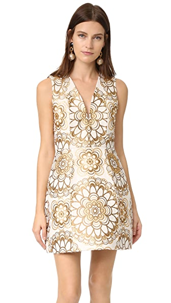 alice + olivia Pacey V Neck Lantern Dress - Cream/Gold
