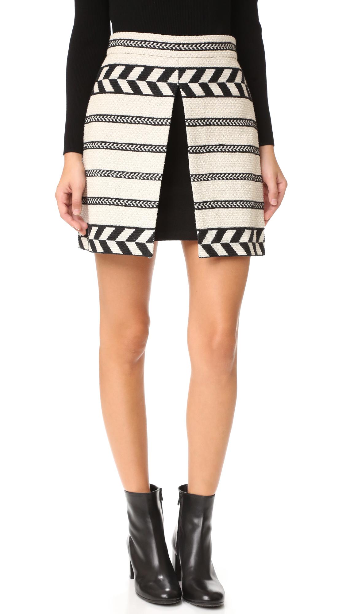 Alice + Olivia Daysi Mini Front Slit Skirt - Cream/Black at Shopbop