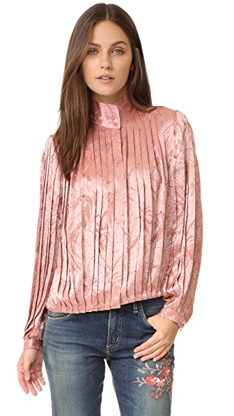 alice + olivia Halina Pleated High Neck Blouse In Dusty Rose