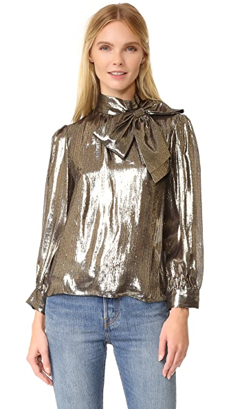 alice + olivia Violeta Blouse with Exaggerated Neck Bow