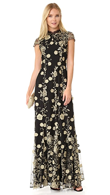 alice + olivia Aaliyah Embroidered Gown
