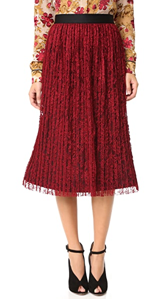 Alice + Olivia Mikaela Pleated Skirt - Bordeaux at Shopbop