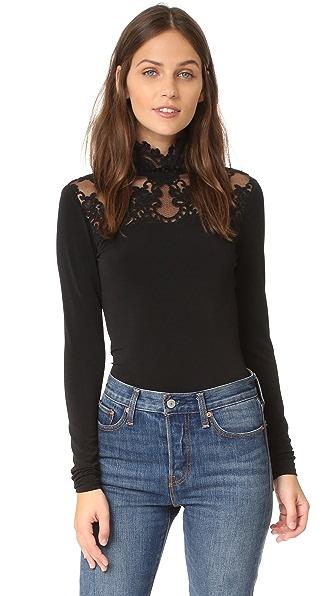 Alice + Olivia Jennine Lace Yoke Top - Black at Shopbop