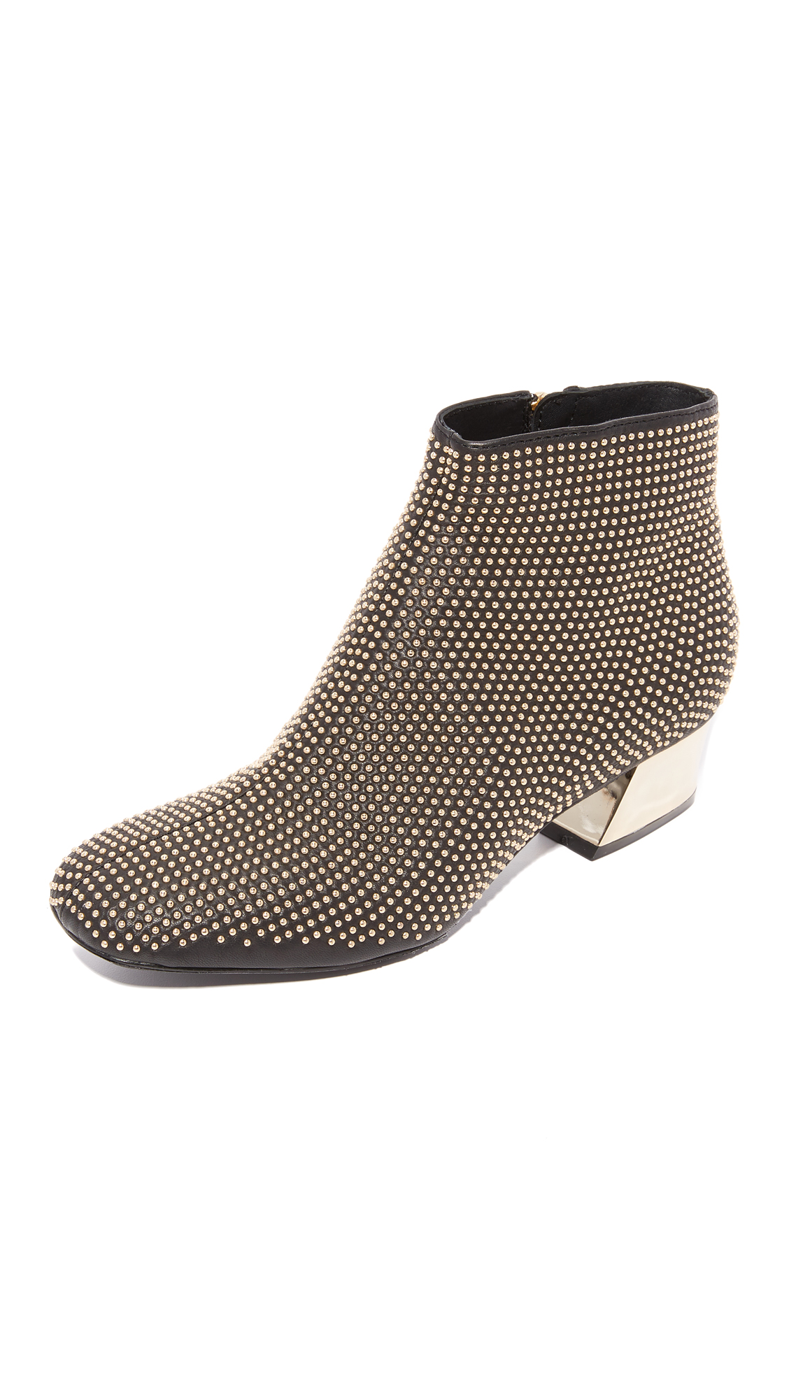 Alice + Olivia Paxton Studded Booties - Black/Brushed Pale Gold