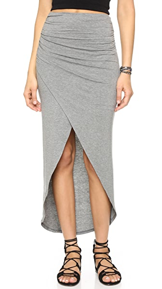 Alice + Olivia Air Tiana Gathered Crossover Midi Skirt - Medium Grey at Shopbop
