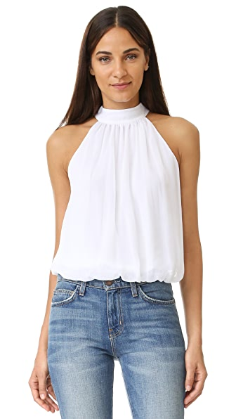 alice + olivia Maris Gathered Halter Top - White