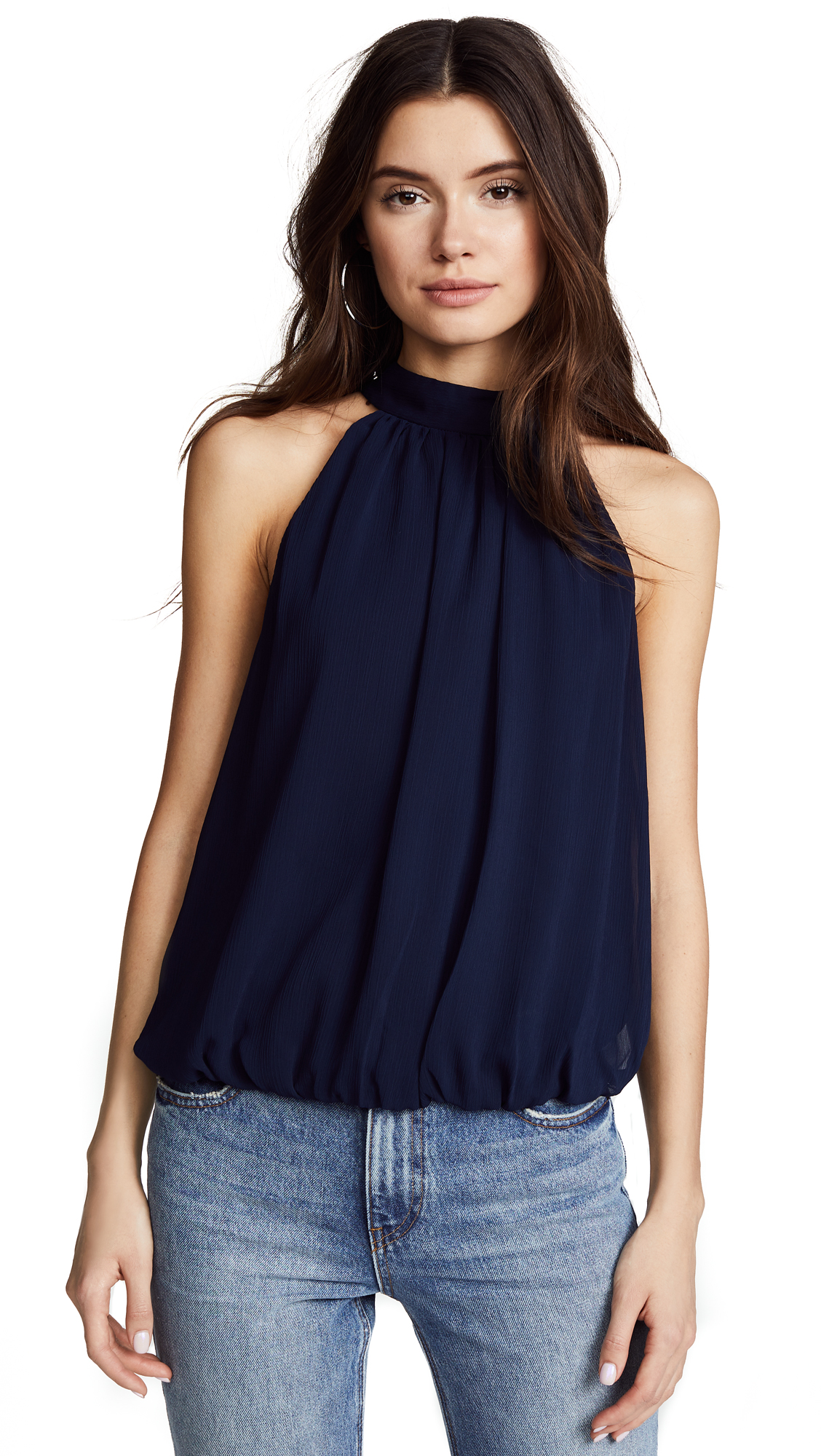 alice + olivia Maris Gathered Halter Top - Navy
