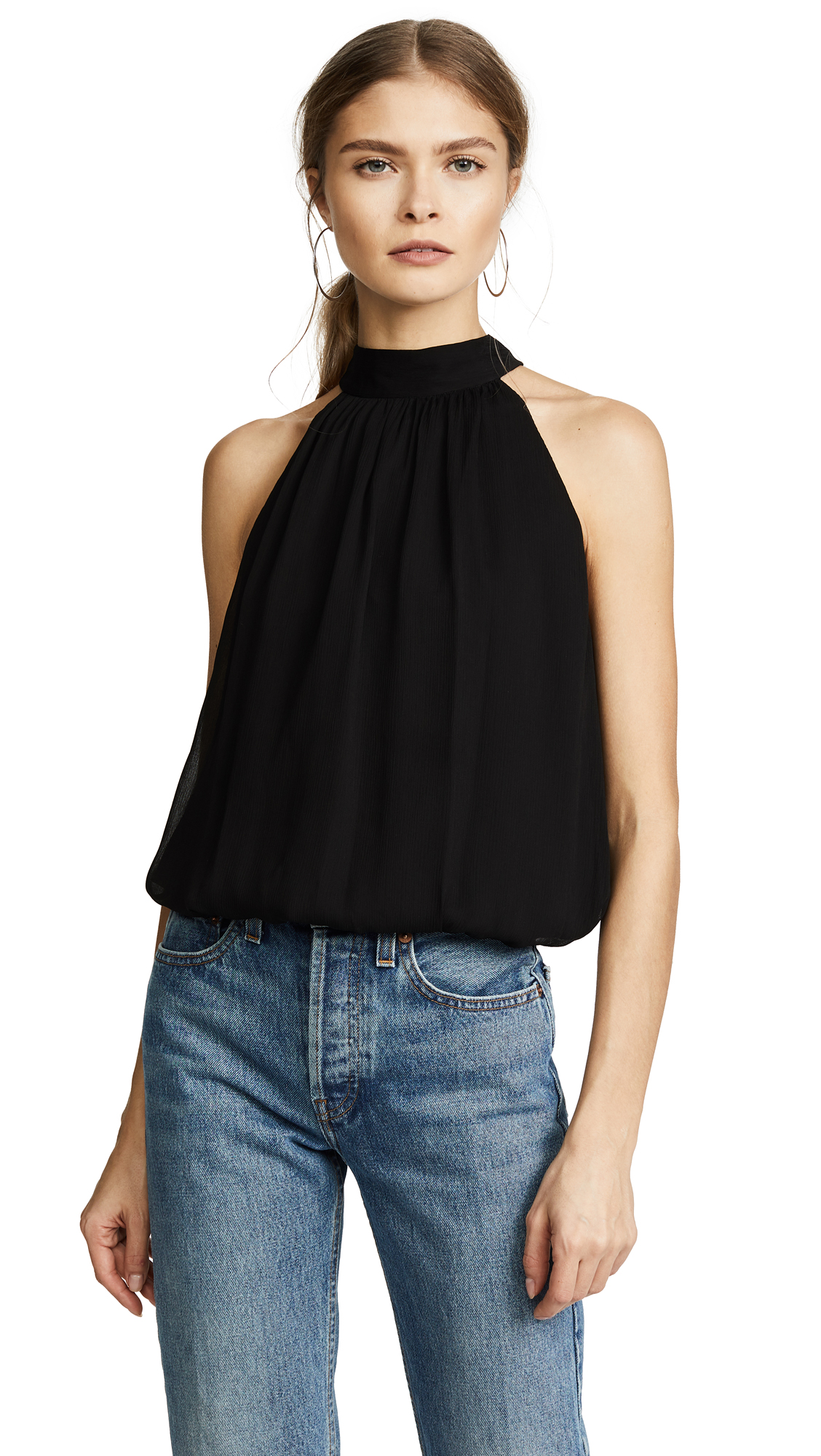 alice + olivia Maris Gathered Halter Top - Black