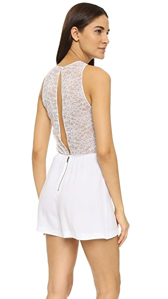 Alice + Olivia Air Jasper Lace Back Romper - White at Shopbop