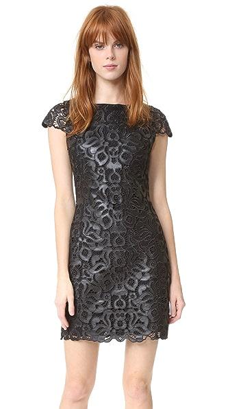 alice + olivia Penni Faux Leather Cap Sleeve Dress