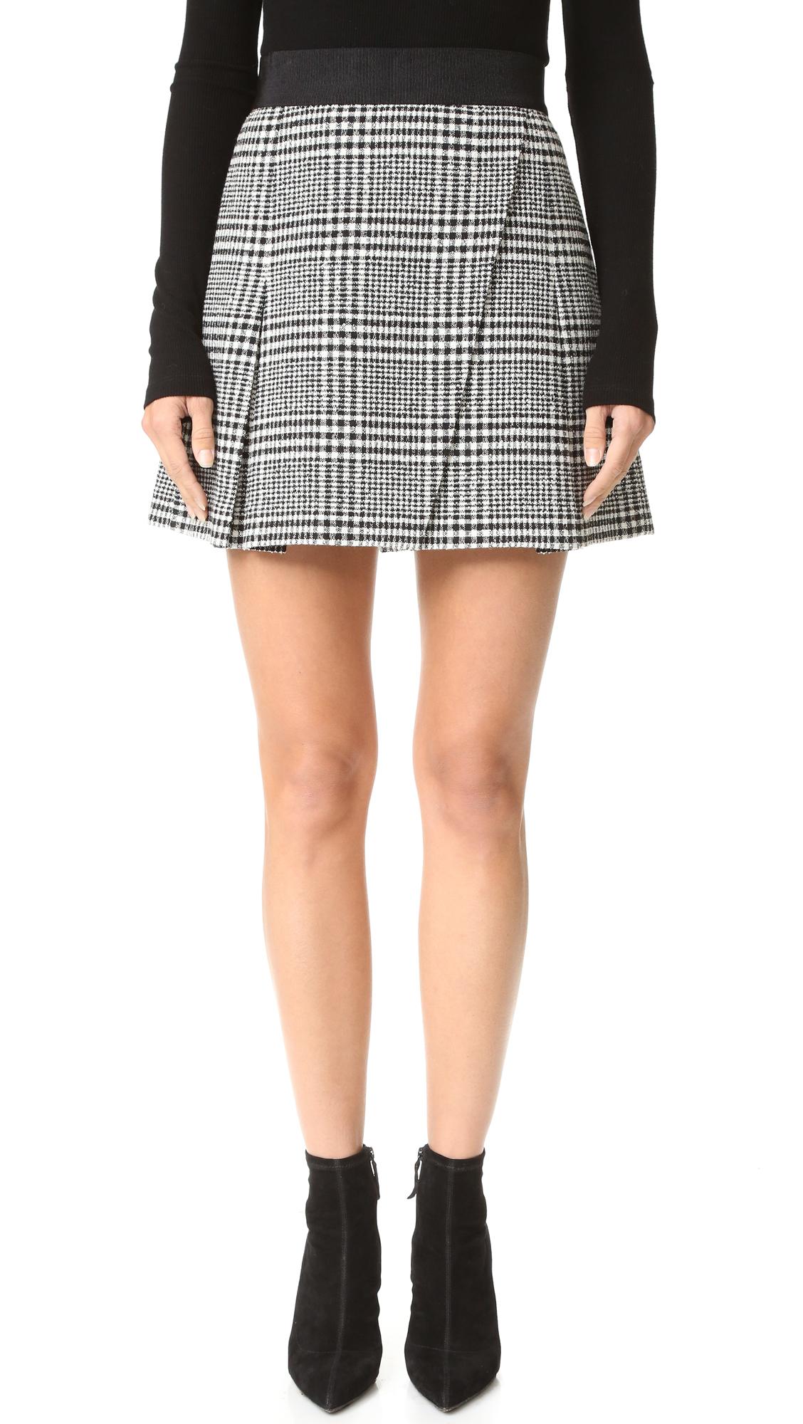 Alice + Olivia Cindie Pleated Miniskirt - Black/Cream at Shopbop