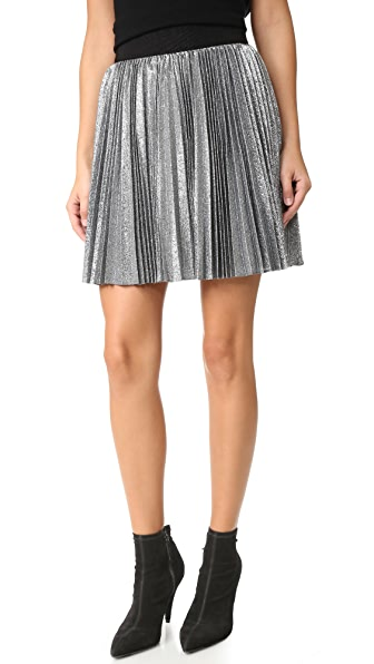 Alice + Olivia Danica Sunburst Pleated Miniskirt - Silver/Black at Shopbop
