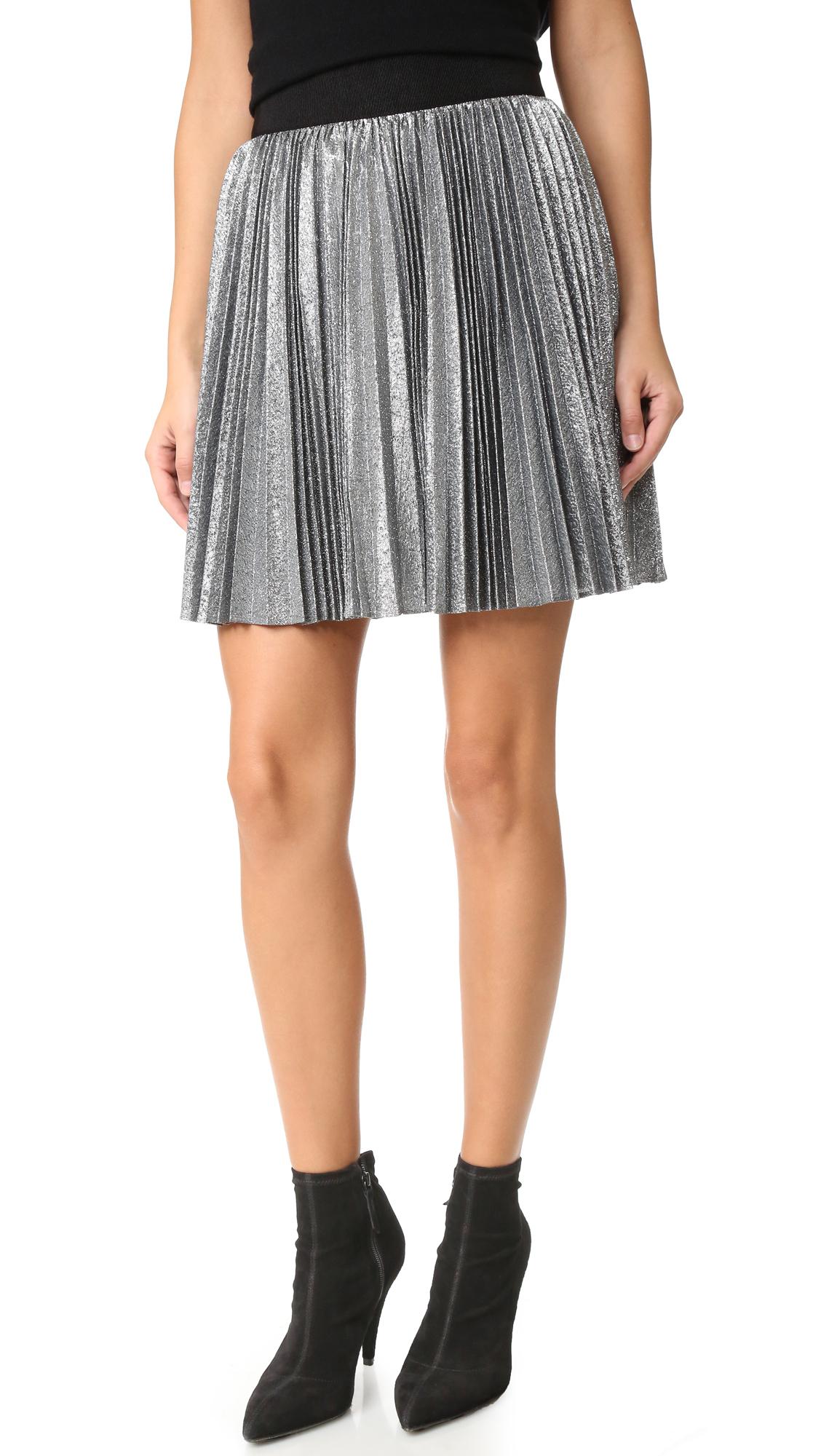Alice + Olivia Danica Sunburst Pleated Miniskirt - Silver/Black at Shopbop