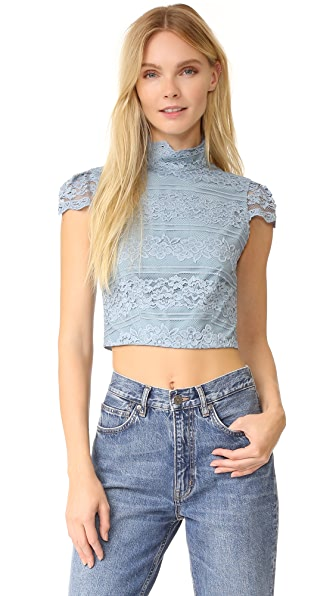 alice + olivia Julia Lace Crop Top - Light Blue