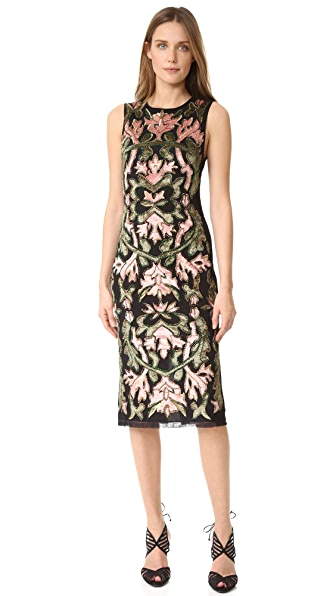 alice + olivia Nat Embroidered Dress - Black/Multi