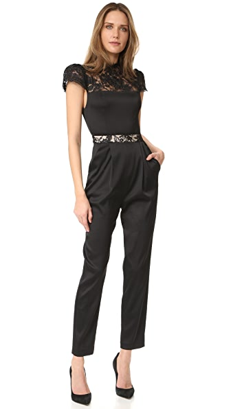 alice + olivia Rosalia Mock Neck Jumpsuit - Black