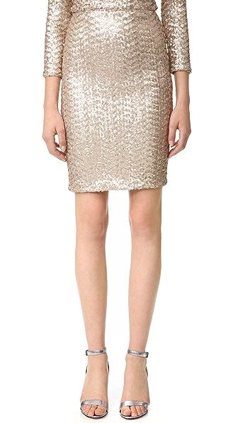alice + olivia Ramos Sequin Midi Skirt - Nude Pink