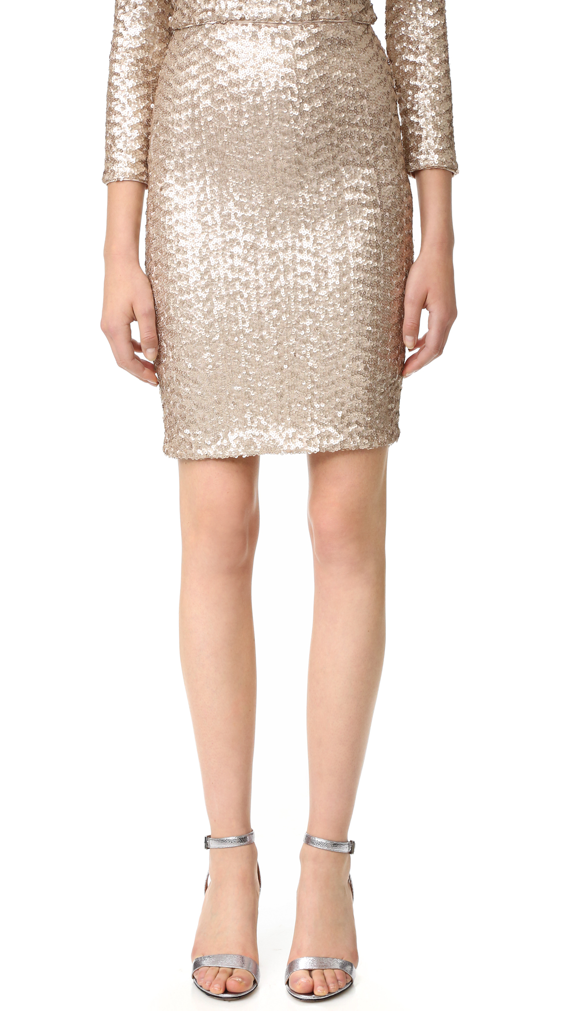Alice + Olivia Ramos Sequin Midi Skirt - Nude Pink at Shopbop