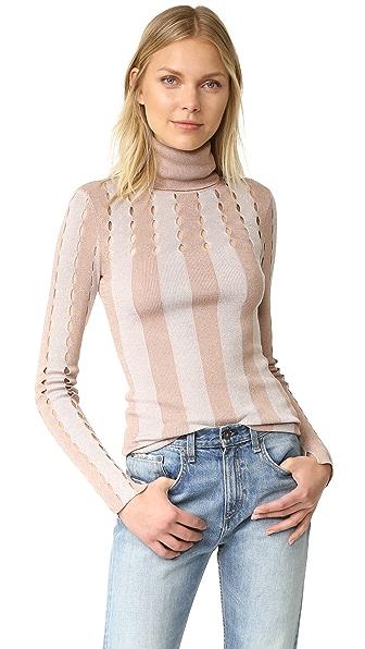 alice + olivia Catheryn Pointelle Turtleneck Sweater