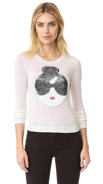 alice + olivia Stace Face Peekaboo Sequin Sweater
