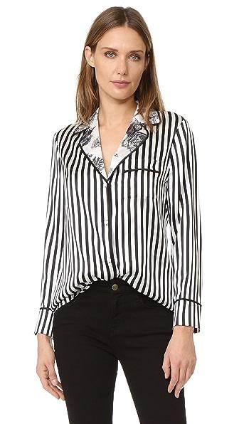 alice + olivia Robby Silk Pajama Top