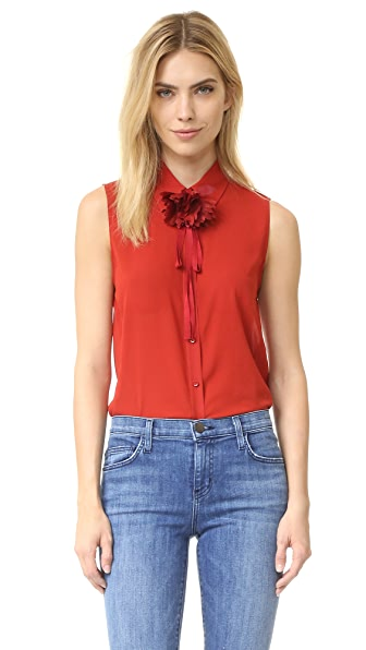alice + olivia Teri Flower Buttondown - Brick Red