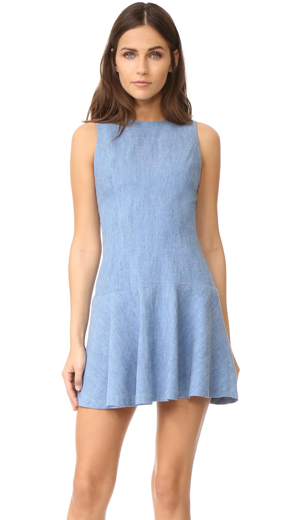 Alice + Olivia Elida Drop Waist Sleeveless Dress - Light Chambray at Shopbop