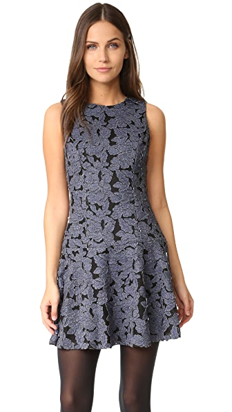 alice + olivia Fonda Crew Neck Drop Waist Dress - Denim Blue/Black