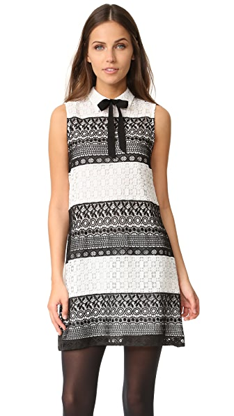 alice + olivia Hilly Collared Flare Dress with Bow - Black/White