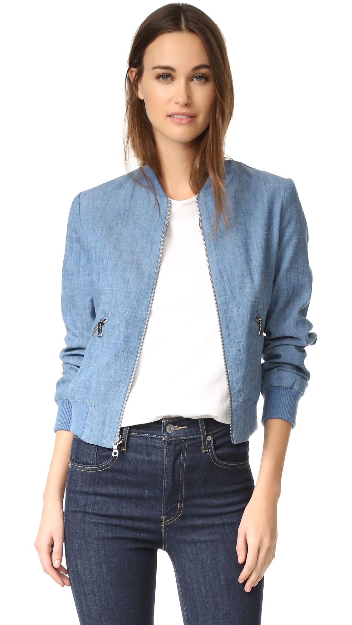 Alice + Olivia Lonnie Bomber Jacket - Medium Chambray at Shopbop