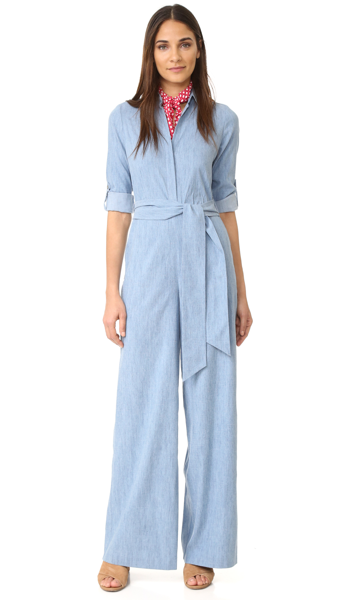 Alice + Olivia Casy Wide Leg Jumpsuit - Light Chambray at Shopbop