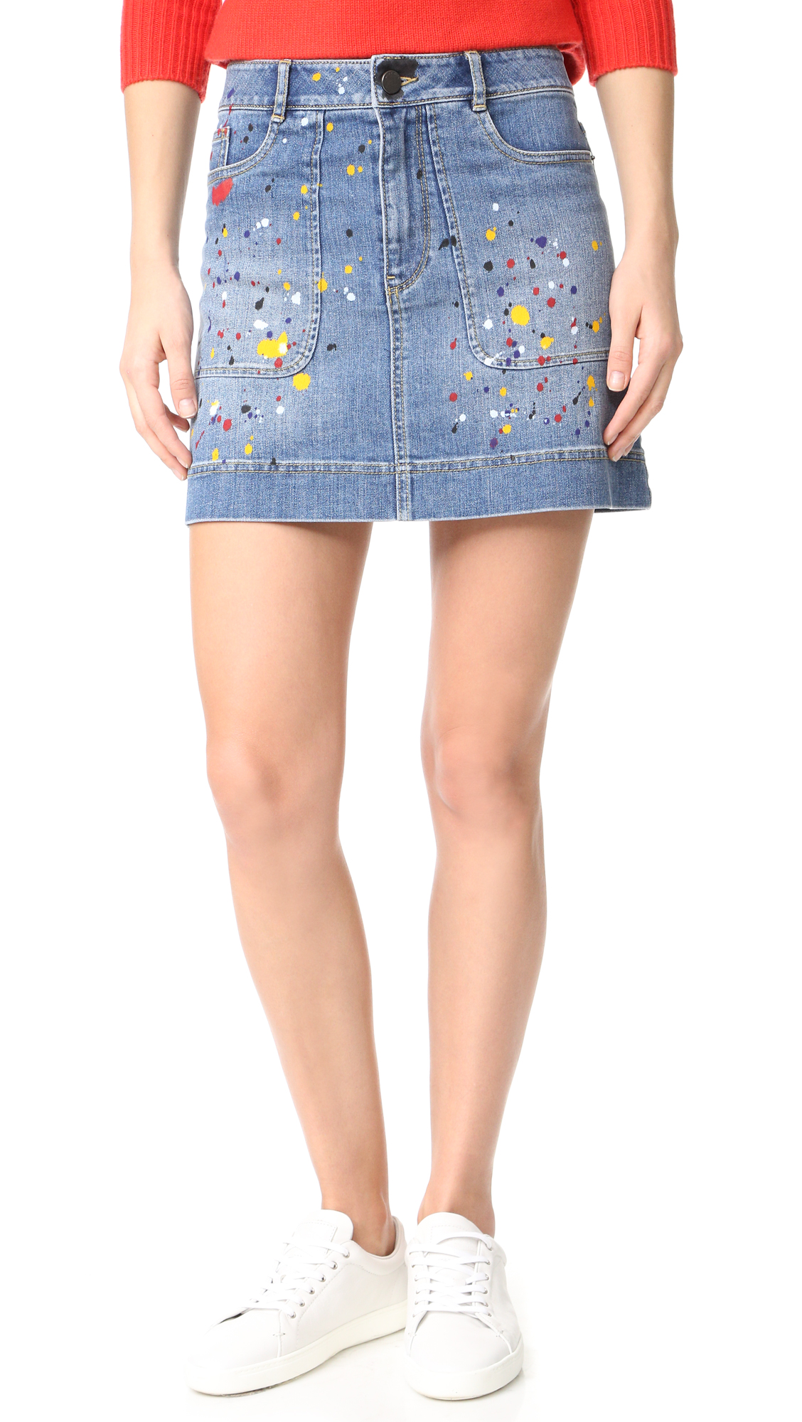 Alice + Olivia Paint Splatter Miniskirt - Denim Multi at Shopbop