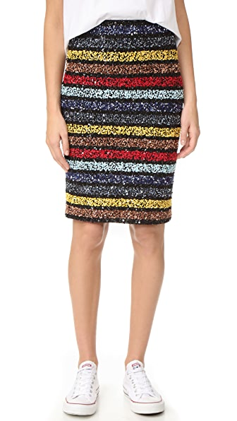 alice + olivia Ramos Embellished Fitted Sequin Skirt - Multi