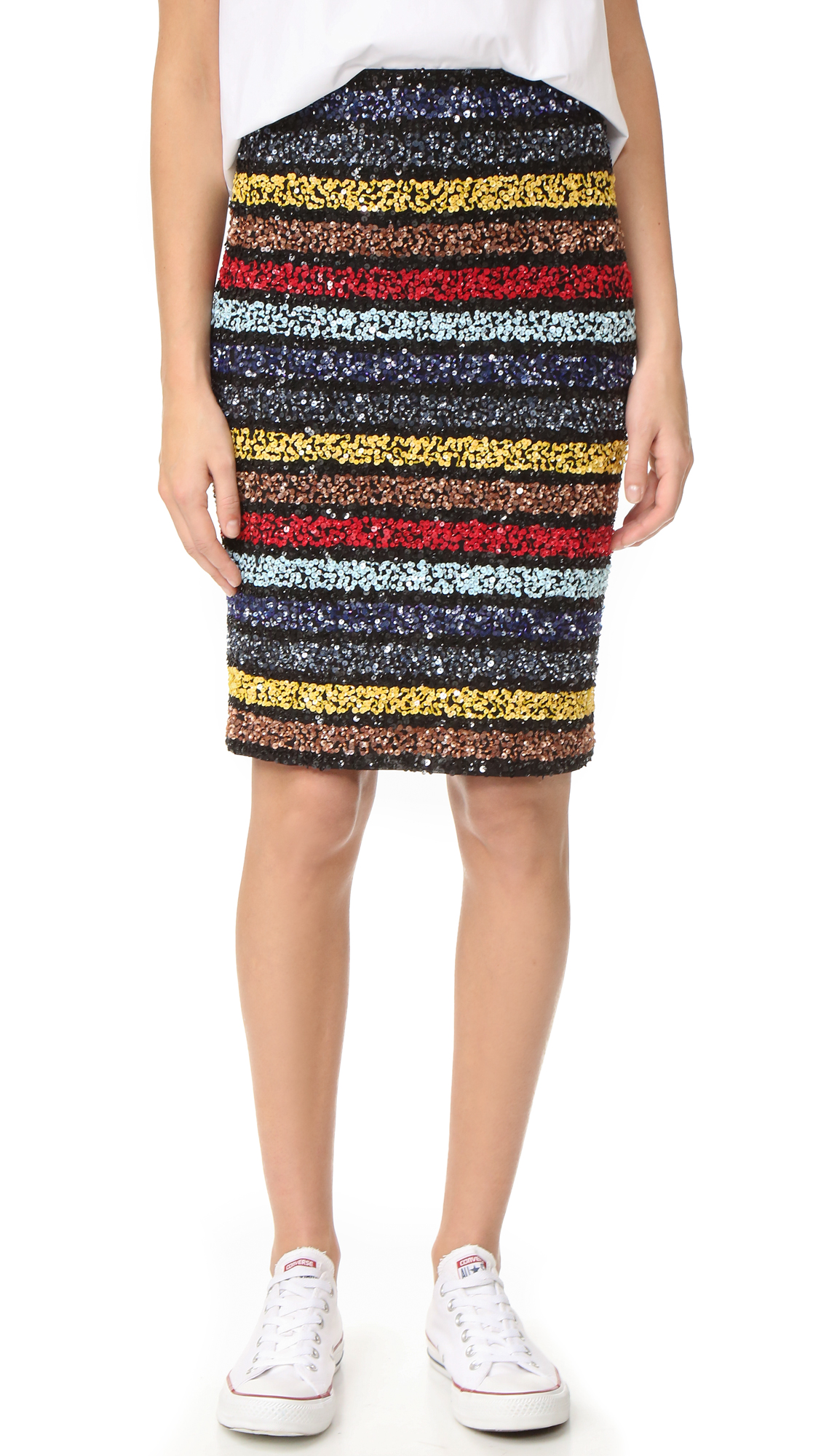Alice + Olivia Ramos Embellished Fitted Sequin Skirt - Multi at Shopbop