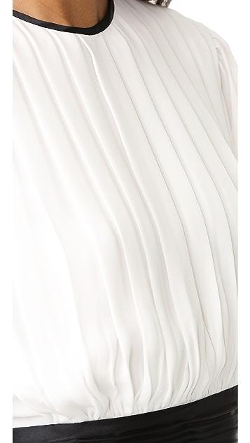 alice + olivia Dakota Pleated Tie Waist Blouse