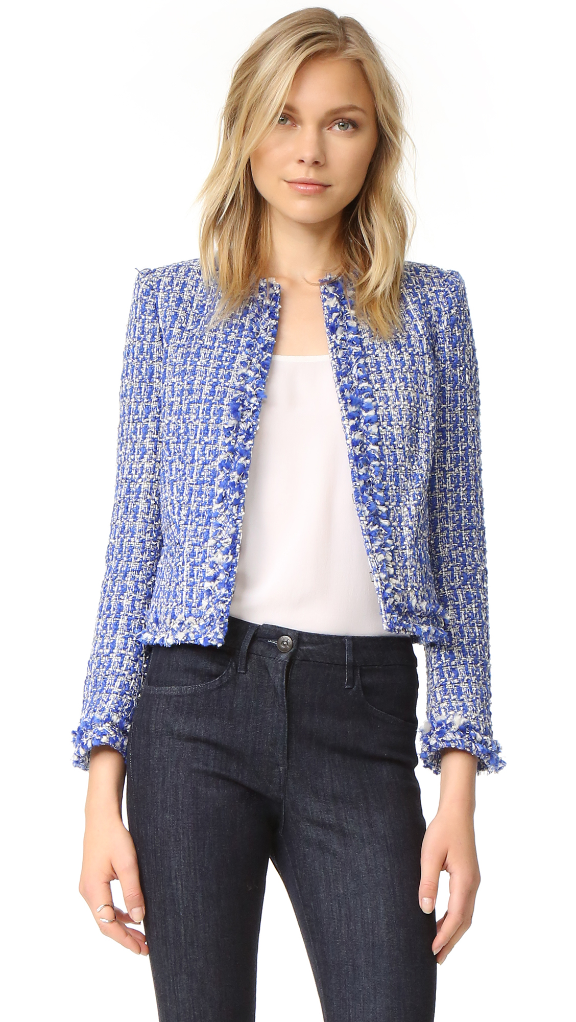 Alice + Olivia Kidman Frayed Hem Box Jacket - Cobalt Multi at Shopbop