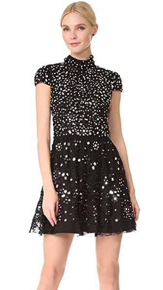 alice + olivia Maureen Embroidered Party Dress - Black