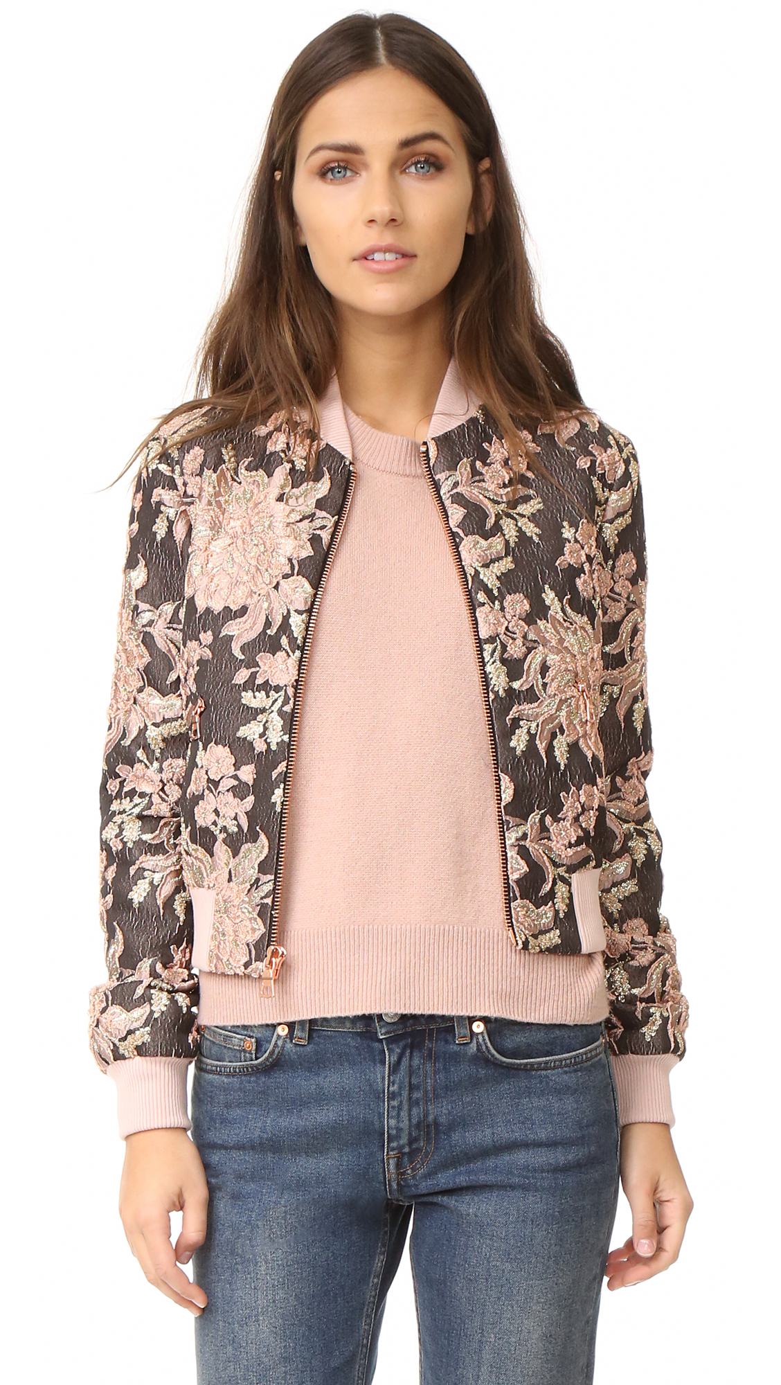 Alice + Olivia Lonnie Cropped Bomber Jacket - Dusty Rose Multi at Shopbop