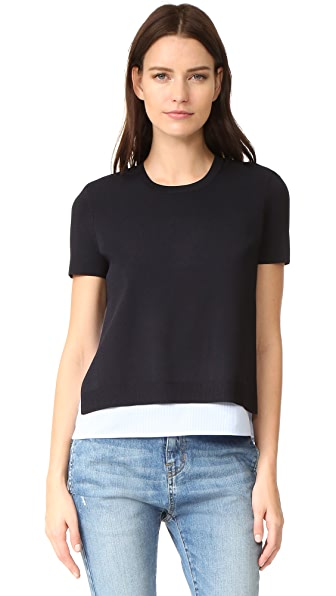 alice + olivia Iva Short Sleeve Crew Neck Shirt - Navy/Blue