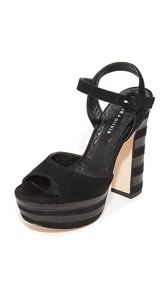 alice + olivia Liberty Platform Sandals - Black
