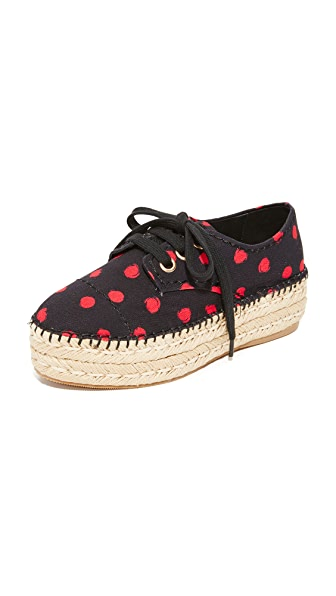 alice + olivia Rory Espadrille Platform Sneakers - Black/Red Abstract Dot