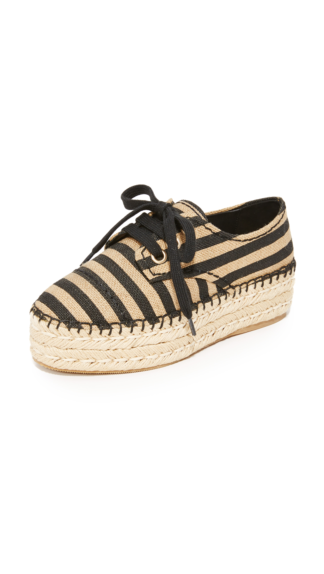 Alice + Olivia Rory Espadrille Platform Sneakers - Natural/Black Stripe at Shopbop